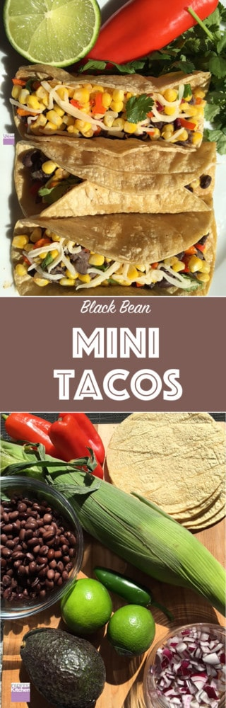 These vegetarian mini tacos are made with fresh corn and black beans. It is the perfect dinner recipe for the whole family to enjoy. Made in 40min