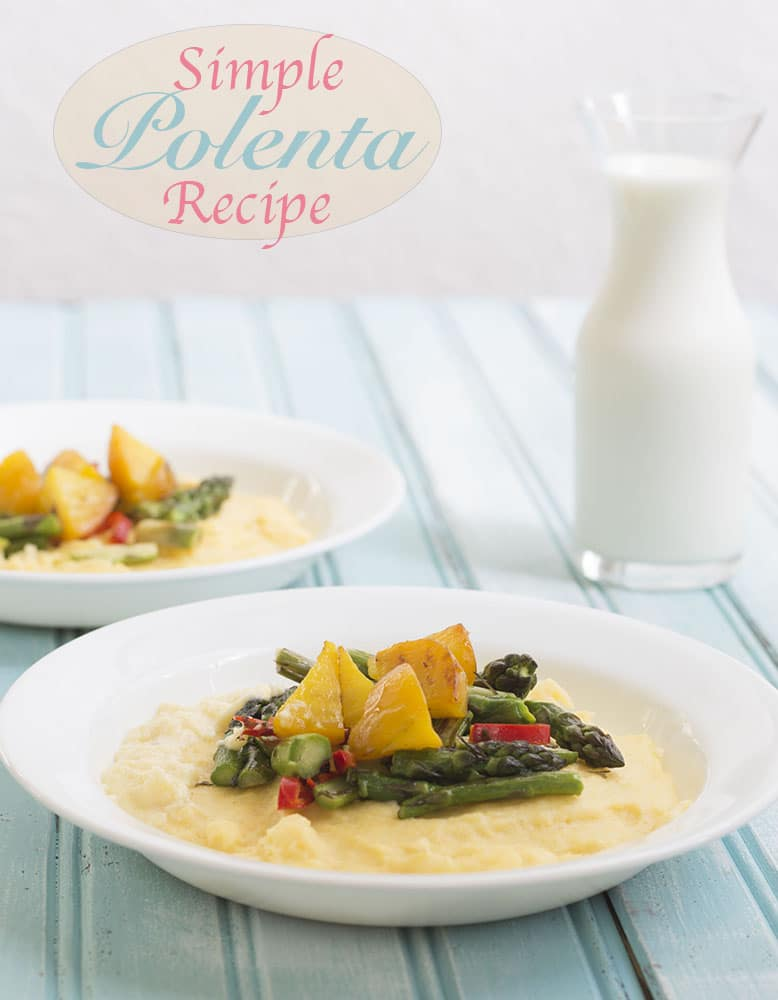 Front view of two white plates with polenta and veggie mixture