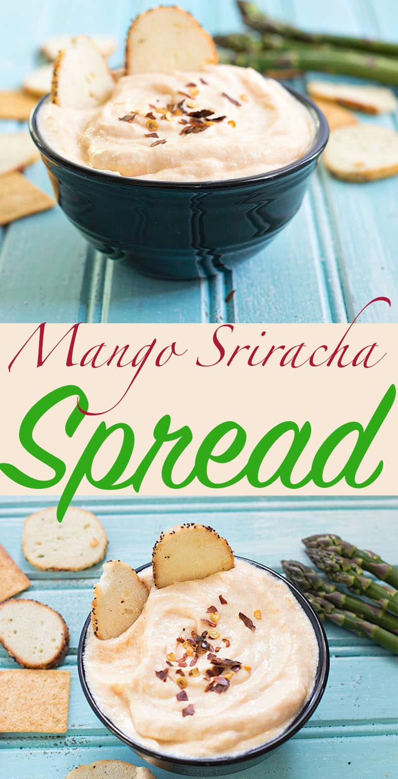 Mango sriracha spread is a simple appetizer for any recipe. Hot sriracha sauce gives the perfect level of heat and the mango adds sweetness to the recipe.