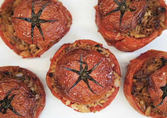 Traditional Greek Stuffed Tomatoes - Vegan Greek Recipes