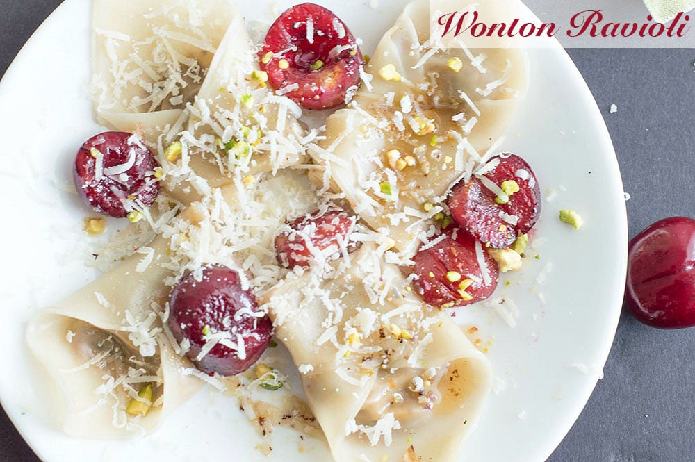 This simple and delicious wonton ravioli is the perfect dinner idea for the whole family to enjoy. Made with fresh mushrooms, bell peppers, shallots and amaretti cookies. Even vegans can find a way to enjoy this recipe.