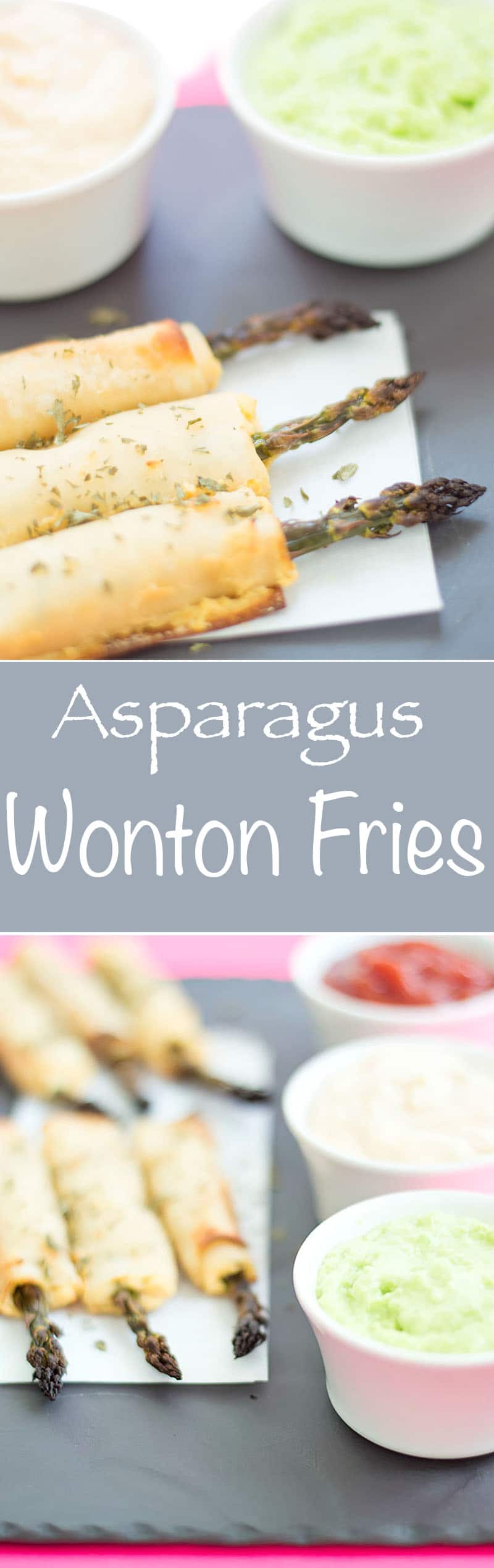 Asparagus Wonton Fries - easy to make + healthy baked. Spread Mango sriracha dip on the wontons, wrap it and roast. Simple, kid-friendly vegan snack.