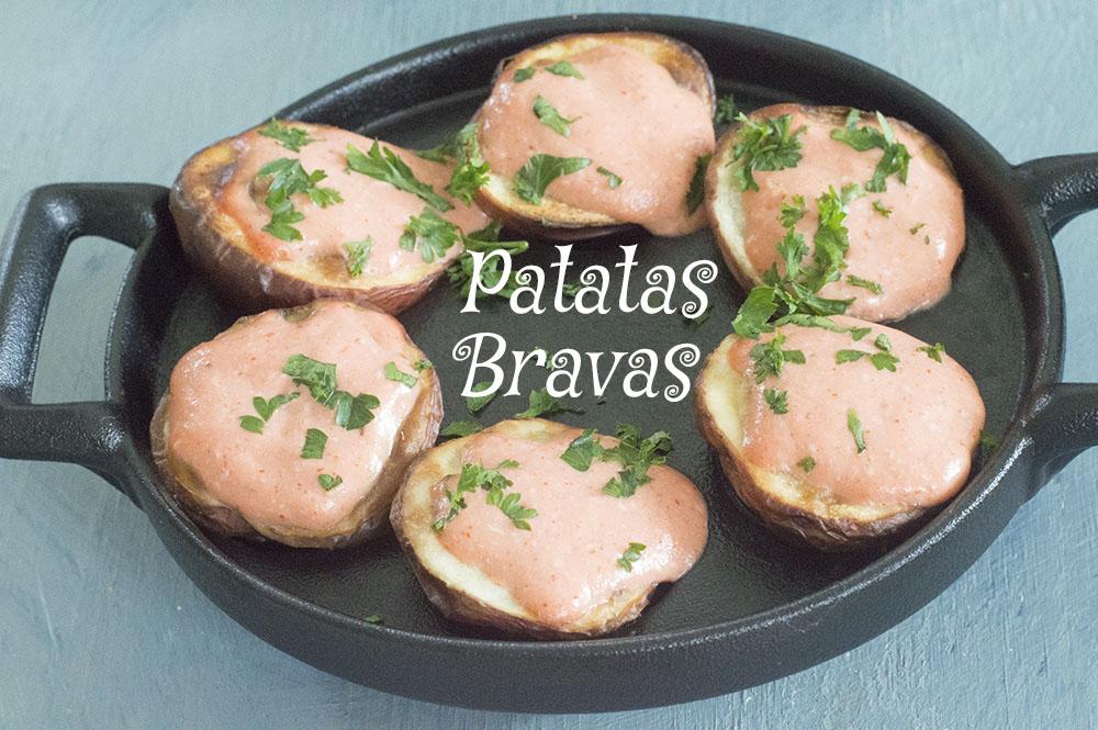 Potato Bravas on a mini escagot pan - Vegan tapas
