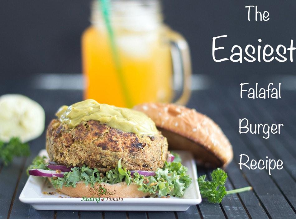 Front view of a falafal burger