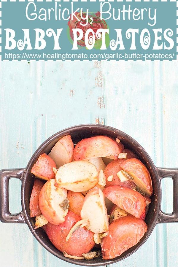 Garlic and buttery vegan potatoes made in an individual sized pan #healingtomato #veganrecipes #vegan #potatoes #veganbutter