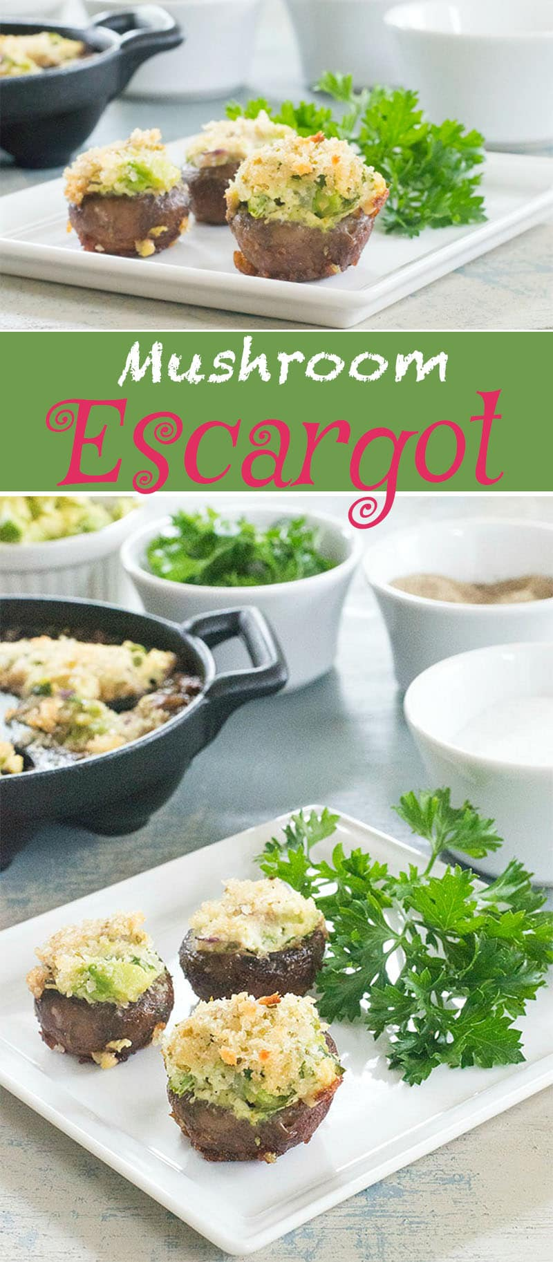 A simple escargot recipe that vegetarians & vegans can appreciate. Made with mushrooms, avocado, soft tofu and parsley. Vegan appetizer recipe for any party