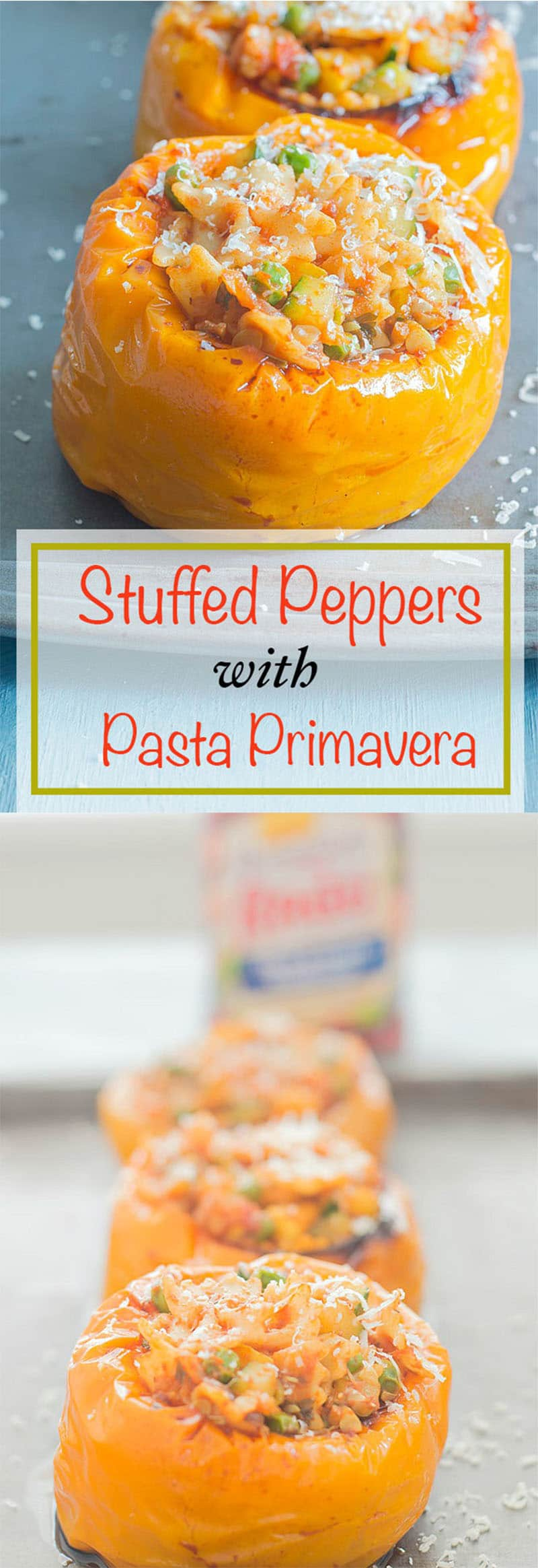 Stuffed Peppers - Peppers are delicately roasted and then stuffed with pasta primavera. The pasta primavera is made using Mini farfalle, shallots, fresh rosemary, fresh parsley, garlic, zucchini, squash and peas. This is the perfect weeknight dinner recipe for the whole family to enjoy. Vegan dinner and vegetarian dinner