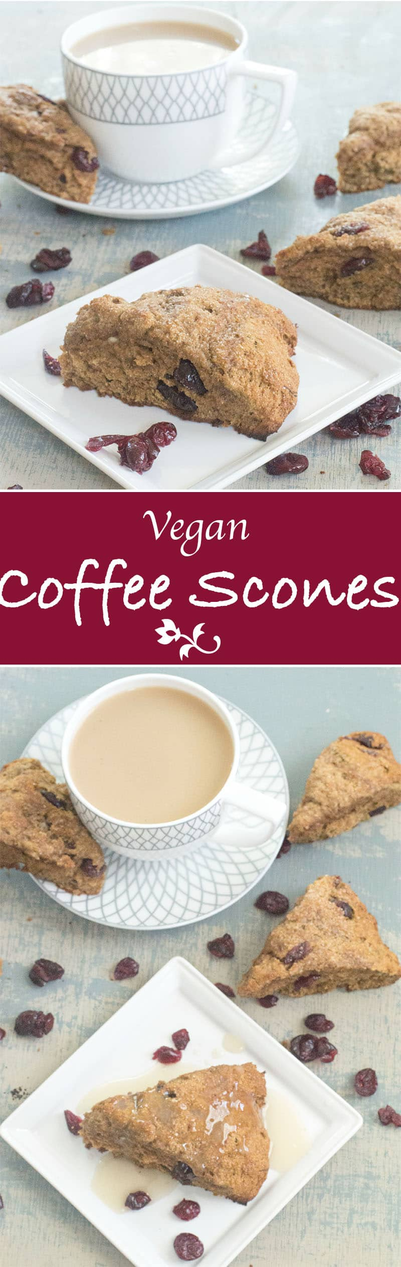 Whole wheat vegan scones made with Cranberries & Gourmesso coffee. They are simple to make and are absolutely delicious. Perfect for a tea time celebration