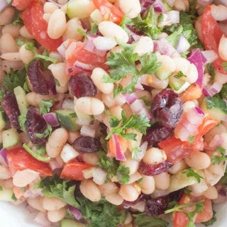Vegan Navy Beans Salad Recipe made in minutes. No cooking required! #healingtomato #vegan #sides #thanksgivingsides #healthy #recipes #cranberry If you are looking for vegan Thanksgiving sides and vegetarian thanksgiving sides, this is THE salad you need to make. #navybeans #familymeals #food #salad #nocooking https://www.healingtomato.com/navy-beans-salad/