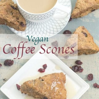 Whole wheat vegan scones made with Cranberries & Gourmesso coffee. They are simple to make and are absolutely delicious. Perfect for a tea time food