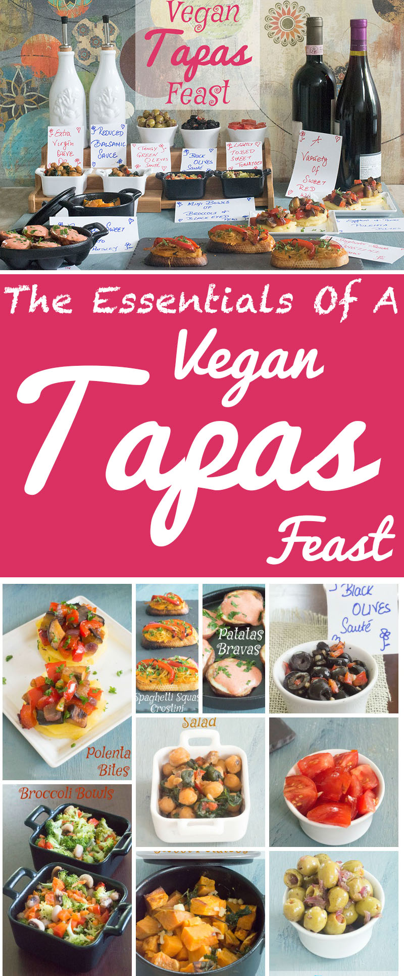 A vegan tapas bar that is a feast to be shared among friends. Made with fresh ingredients such as veggies and lentils. A very healthy vegan snack feast