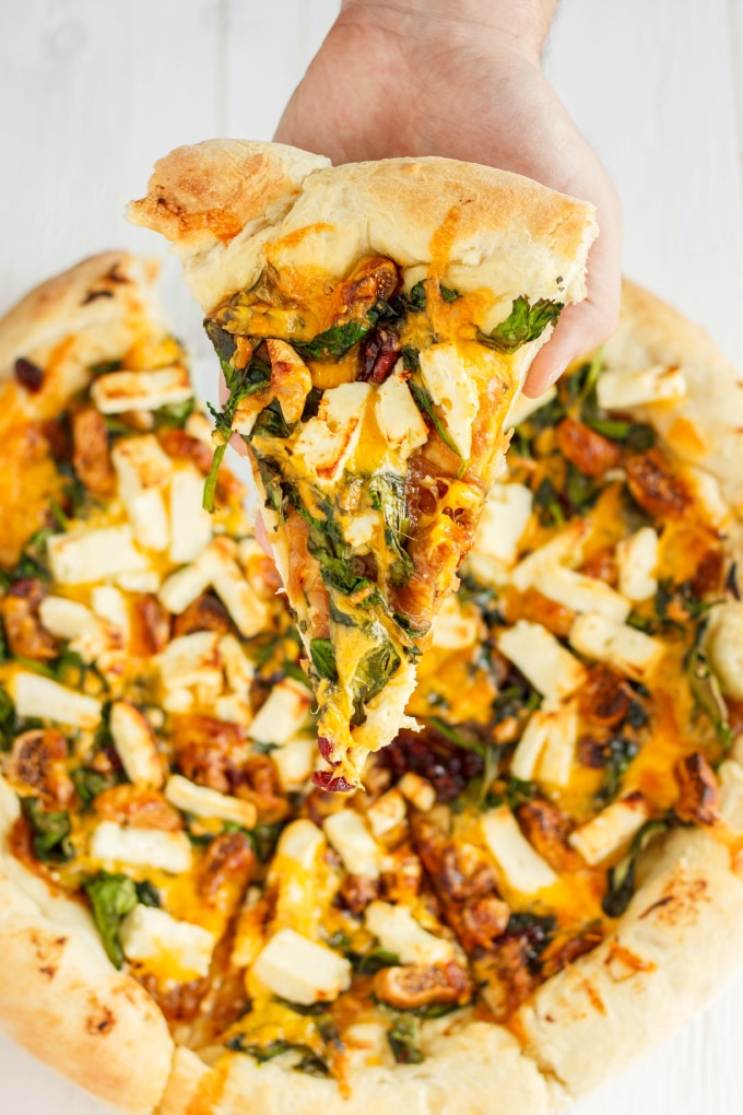 The Cookie Writer - Caramelized Onions Spinach Dried Figs Dried-Cranberries and Feta Pizza - A dried cranberry recipe doesn't have to be for a Thanksgiving feast. Dried Cranberries are versatile & can be put into any recipe. 10 Lunch and Dinner meal