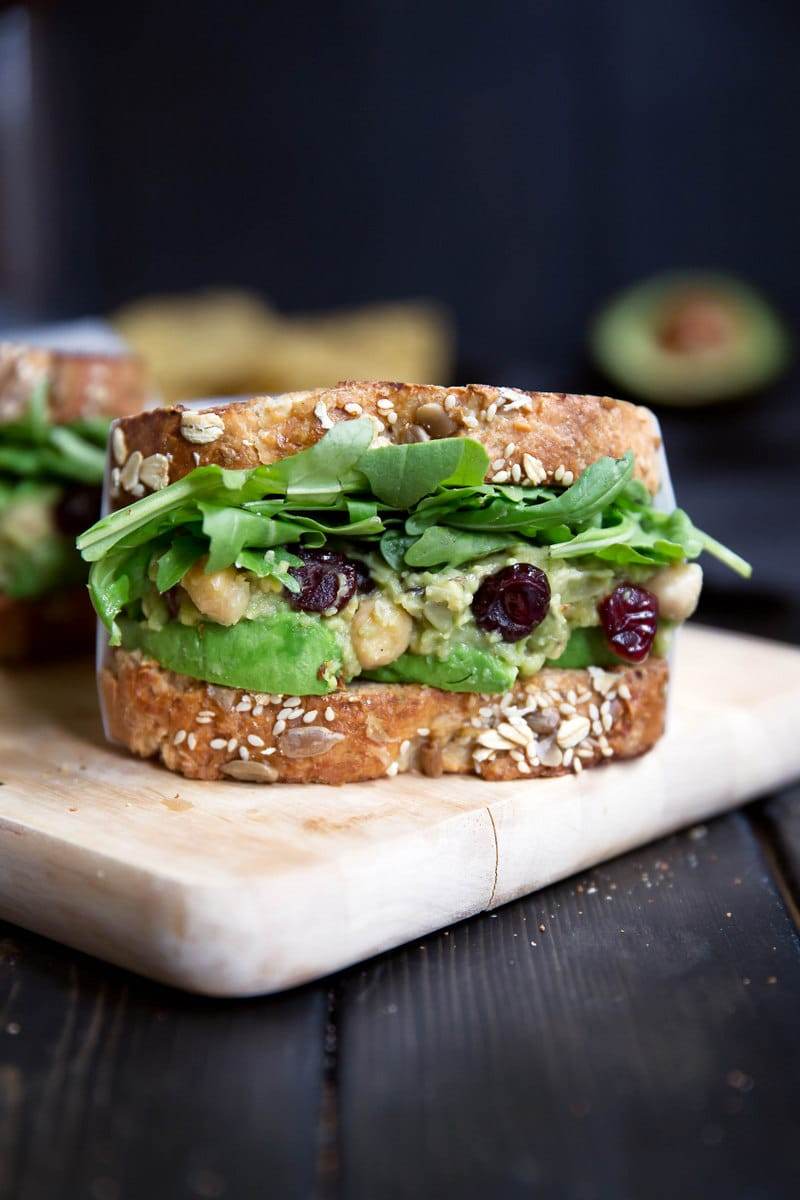 Ambitious Kitchen - Chickpea Avocado Sandwiches - A dried cranberry recipe doesn't have to be for a Thanksgiving feast. Dried Cranberries are versatile & can be put into any recipe. 10 Lunch and Dinner meal