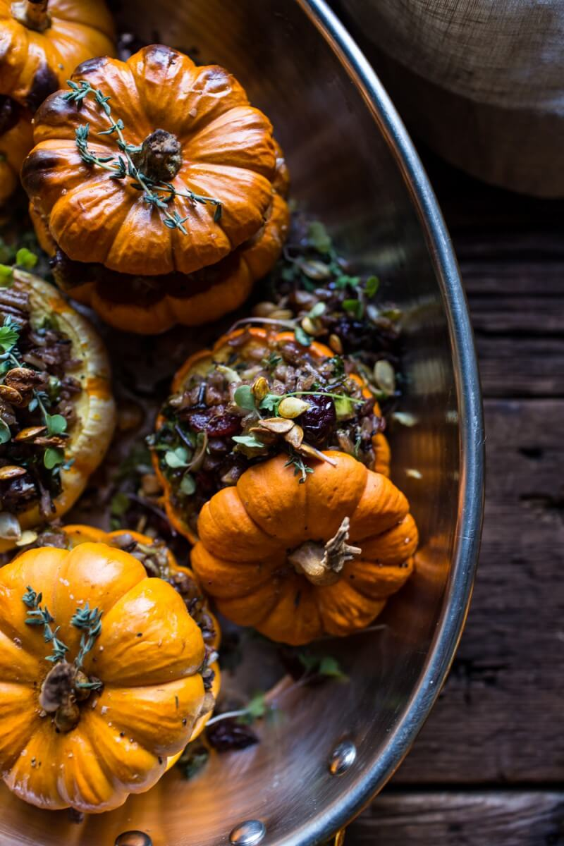 Half Baked Harvest - Nutty Wild Rice and Shredded Brussels Sprout Stuffed Mini Pumpkins - A dried cranberry recipe doesn't have to be for a Thanksgiving feast. Dried Cranberries are versatile & can be put into any recipe. 10 Lunch and Dinner meal