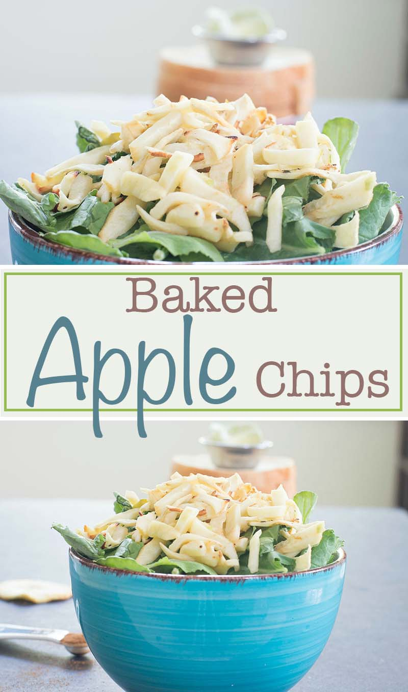 Granny Smith apple chips made by baking in the oven. They are a perfect salad topping or add it on a delicious sundae recipe. Vegan and vegetarian snack.