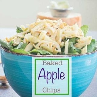 Granny Smith apple chips made by baking in the oven. They are a perfect salad topping or add it on a delicious sundae recipe. Vegan and vegetarian snack