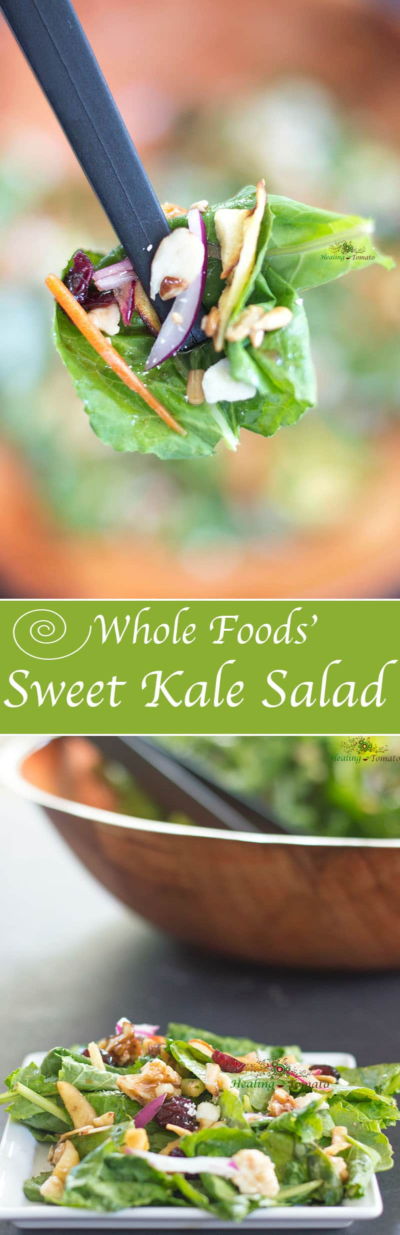 If you love Whole Food's Sweet Kale Salad, you can make it at home. This is a healthy salad that takes only 15 min to put together. Includes healthy nuts