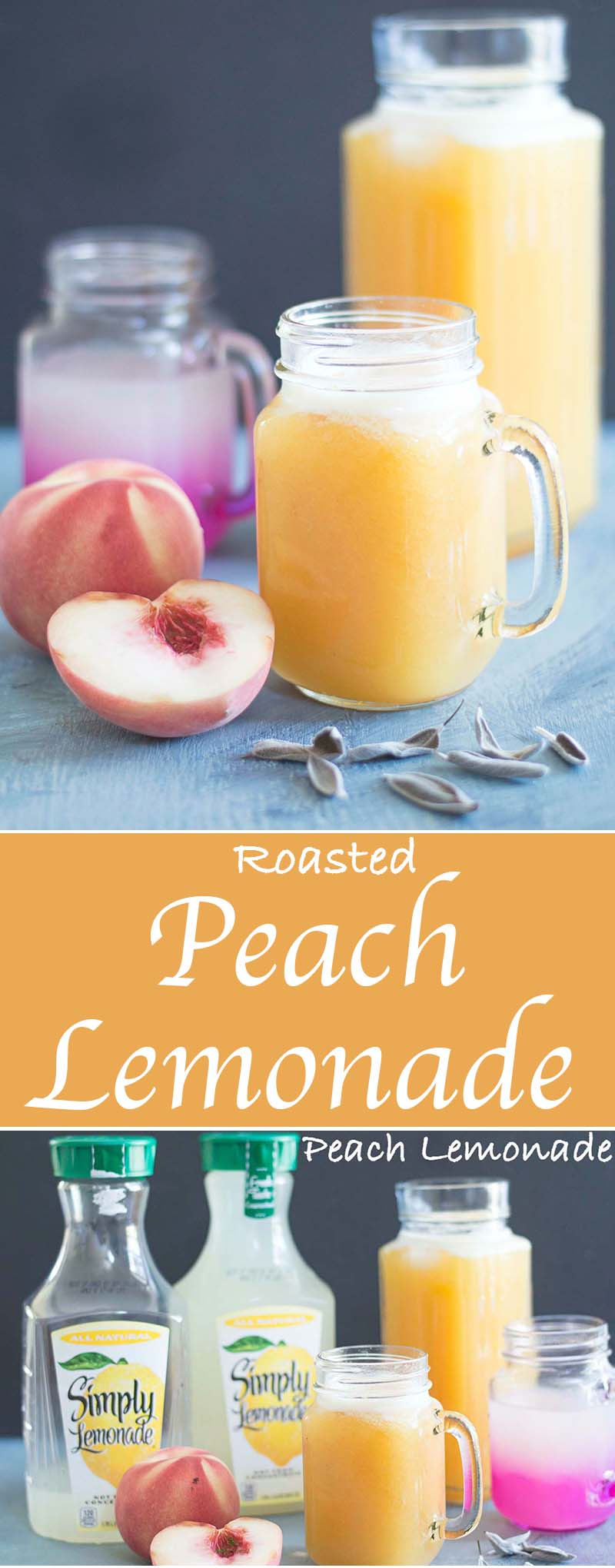 Easy Roasted peach lemonade recipe with sage. I used white peaches making them the perfect summer drinks for your outdoor parties. Using Simply Lemonade #ad #alwaysdelicious #lemonade #summerlemonade #summerdrinks #peaches #parties #vegan #vegetarian #drinks #refreshing