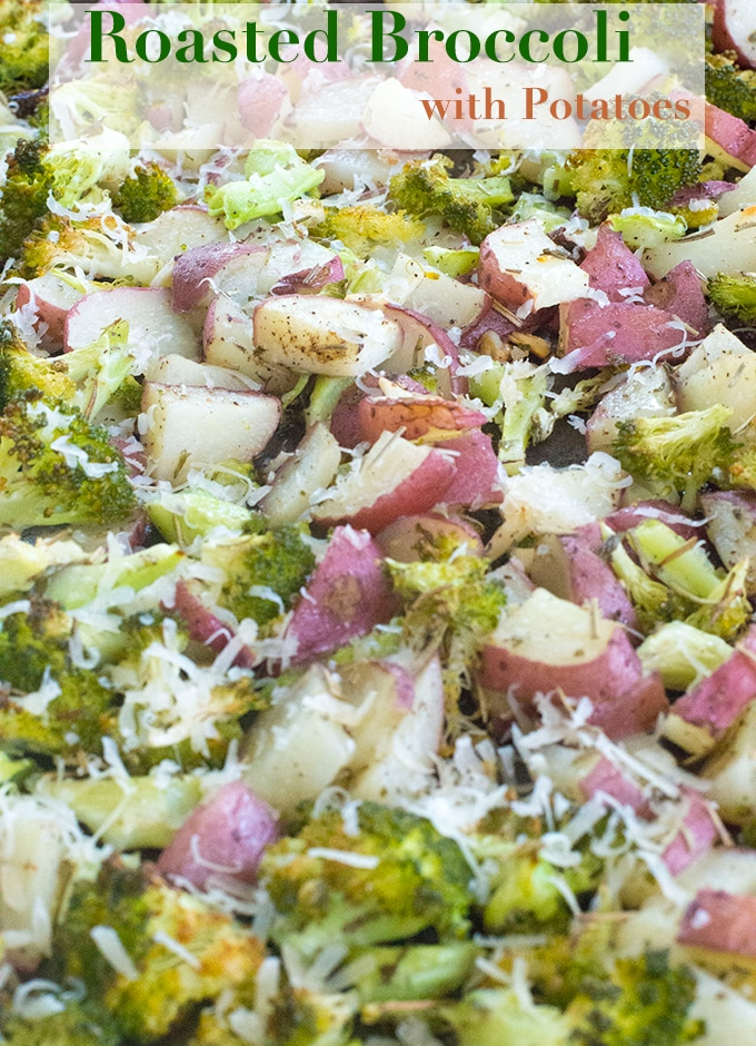 Roasted Broccoli and potatoes are a very simple combo of healthy and comfort food. They are roasted with tons of garlic, oregano, parsley, thyme and pepper.