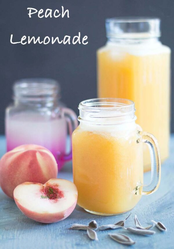 Roasted peach lemonade is very easy. Roast peaches with sage and then puree them. Sieve and add Simply lemonade original flavor. Best summer lemonade recipe