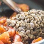 Closeup of Lentils put into the pan - Lentil Potato Medley