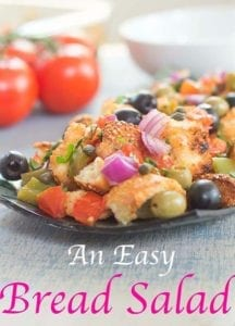 If you have a day old bread lying around, turn it into this delicious and healthy salad. This is a simple bread salad perfect for lunch or as a side dish.