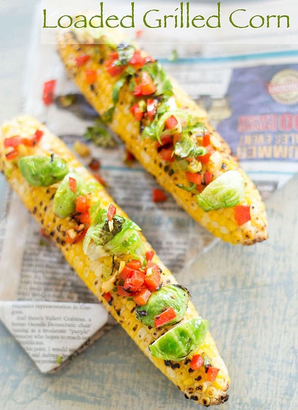 You have never had grilled corn recipe like this one. Summer grilling is fun with this corn and Brussels sprouts and red bell pepper salad Vegan, Vegetarian