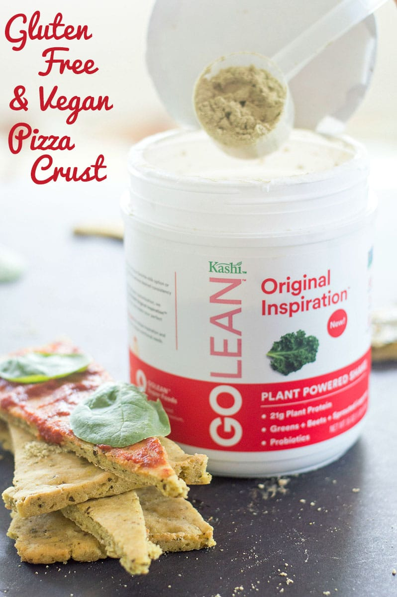 Pizza dough recipe that is both vegan and gluten free. Made with simple ingredients and includes Kashi GOLEAN protein powder . Vegan and Gluten Free pizza #KashiPlantPower #GOTOGETHER