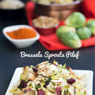 A healthy vegan dinner recipe made of Basmati Rice and Wild rice. The rice pilaf recipe has shredded Brussels sprouts and sunflower seeds. Vegetarian Dinner