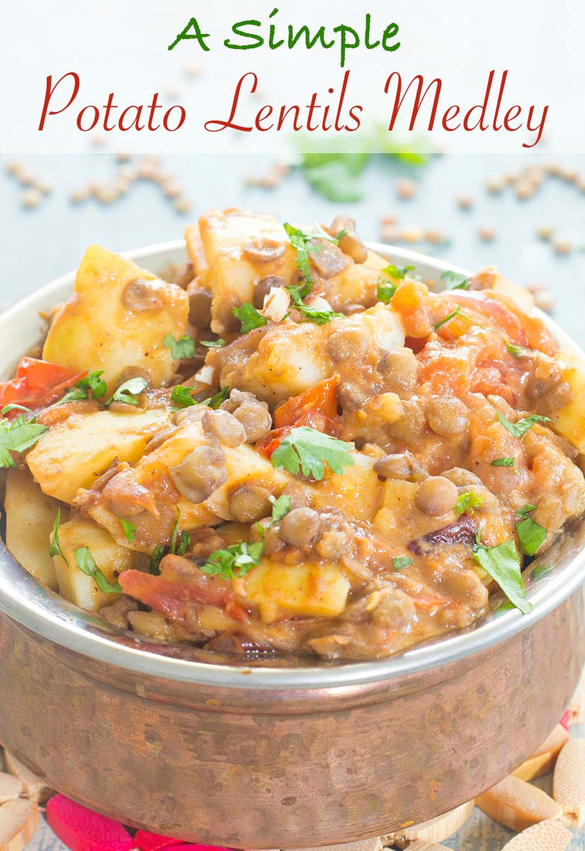 No EXOTIC SPICES REQUIRED! A simple potato lentils meal made with simple everyday ingredients. Perfect vegan lunch or dinner meal packed with protein power