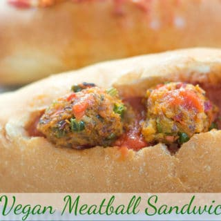 This easy meatball sandwich recipe (vegan) is made with sweet potato and cauliflower plus other fresh veggies. Perfect vegetarian lunch or dinner recipe.