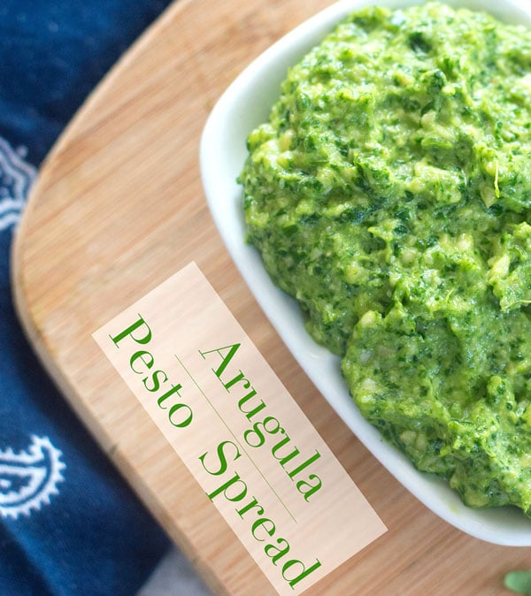 This vegan arugula pesto recipe is made with cashews and nutritional yeast. Use this pesto recipe in a pasta dinner or as a sandwich spread
