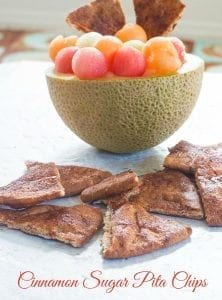 4 ingredients Baked cinnamon sugar pita chips are a quick and easy snack. Serve with dip for game day parties or eat as simple lunch served with fruit salsa