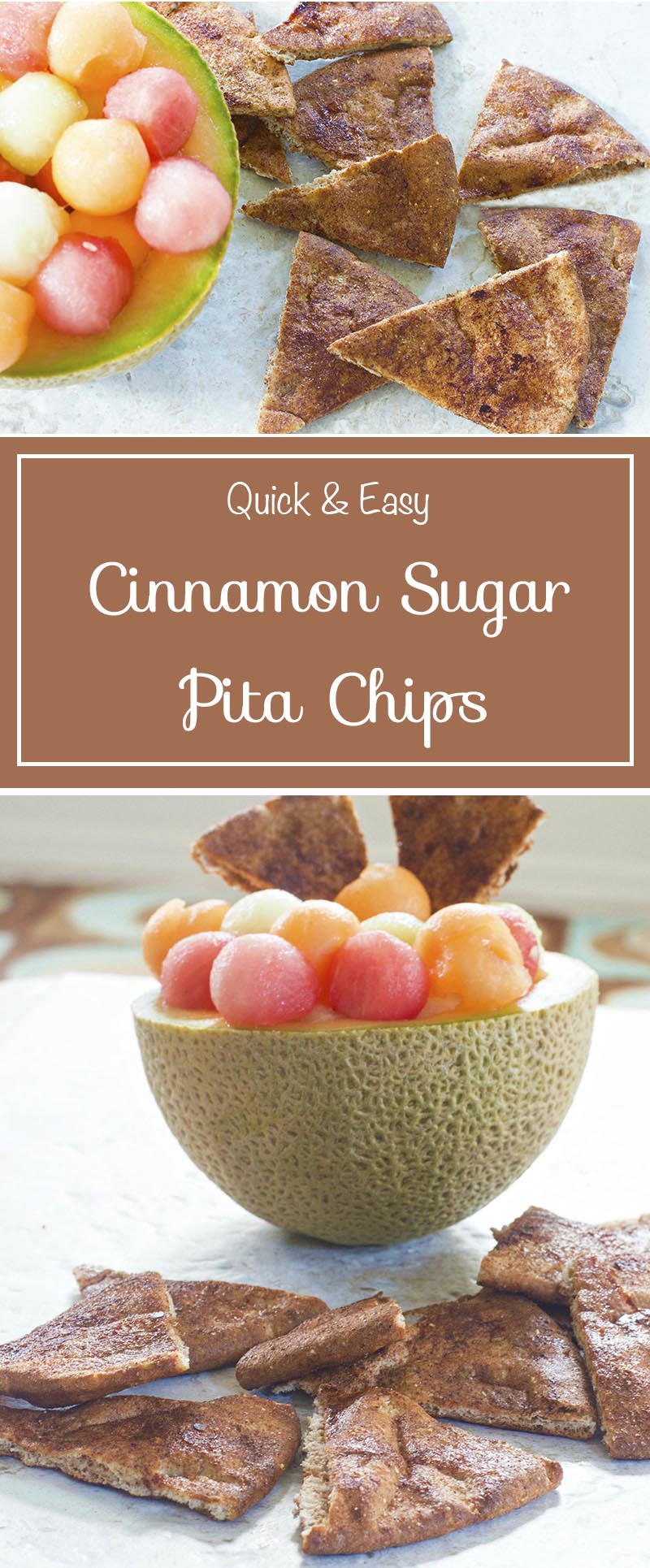 4 ingredients. Baked cinnamon sugar pita chips are a quick and easy snack. Serve with dip for game day parties or eat as simple lunch served with fruit salsa