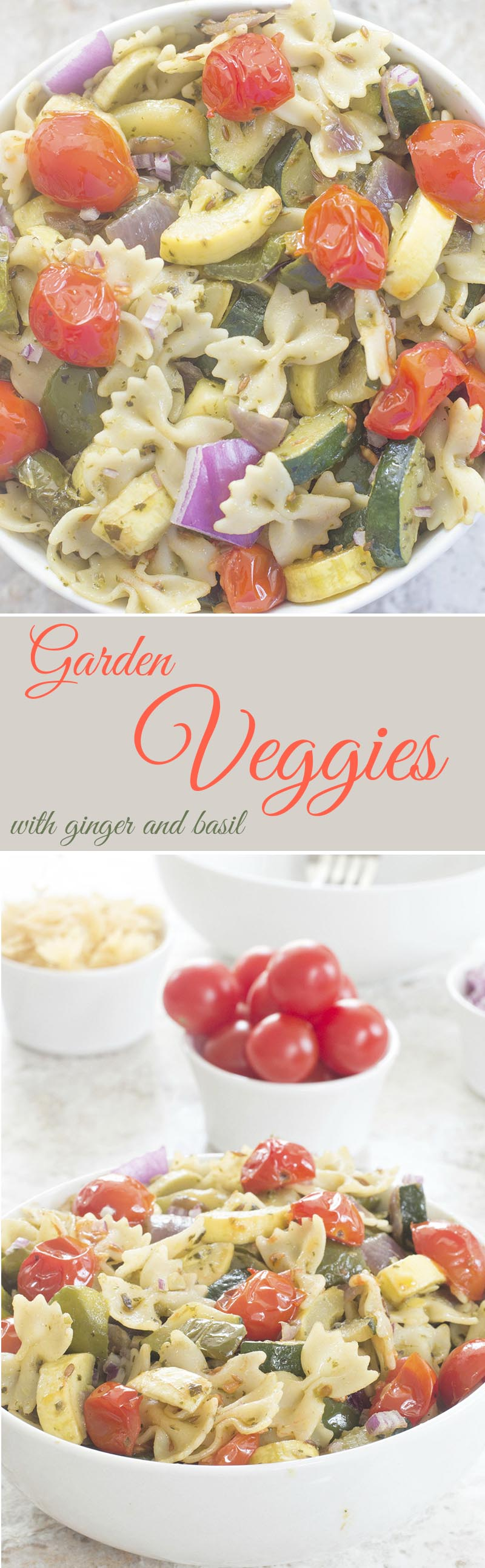 Garden Veggies Pasta made with Dorot Crushed Ginger and Dorot Chopped Basil herb. Quick and easy dinner recipe for vegans, vegetarians and meat eaters.
