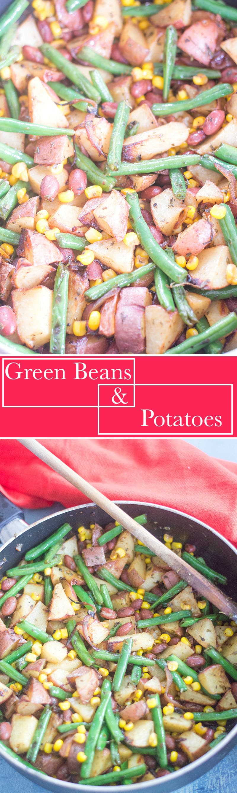 Simple green beans and potatoes recipe made with simple spices. Side dish or perfect lunch meal for vegans, vegetarians and omnivores. Takes 30 min or less