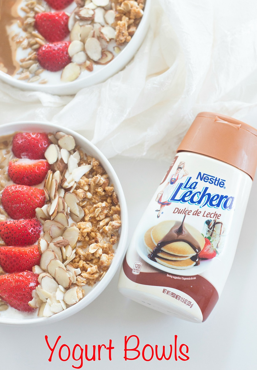 A Simple Greek yogurt bowl recipe made with La Lachera Dulce De Leche. Perfect breakfast because it takes only 5 minutes to make