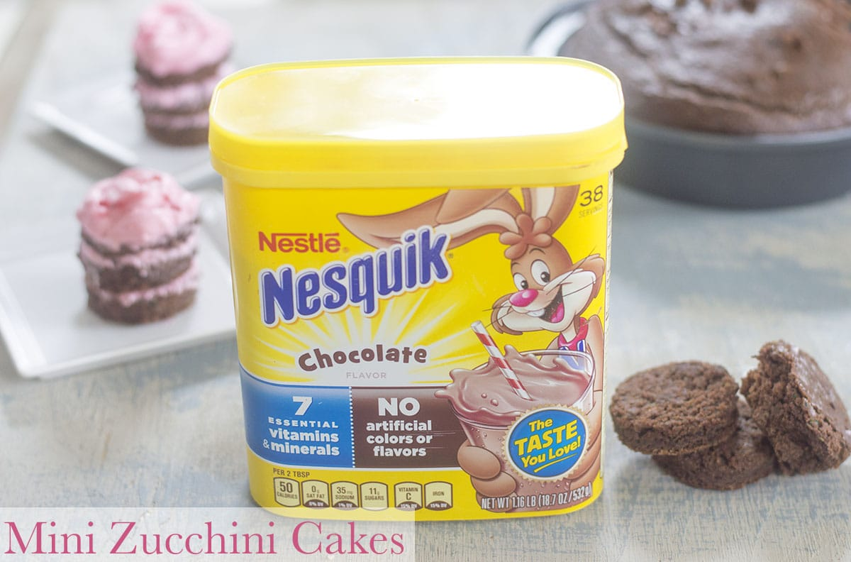 Mini Zucchini chocolate cakes layered with vegan buttercream frosting and using Nesquik chocolate powder. Perfect after school snack #ad #stirimagination