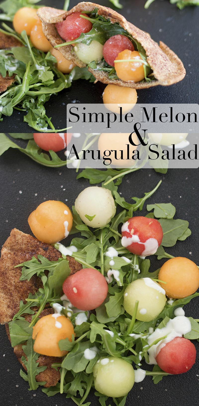 A simple melon and arugula salad with a vegan yogurt dressing. Served on a bed of pita chips or serve in a cinnamon sugar pita pocket. Easy Lunch recipe