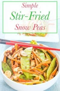 Stir Fried Snow Peas With Carrots with Asian flavors. Topped with walnuts for a yummy crunch. This is perfect lunch meal or a side dish. Vegan / Vegetarian