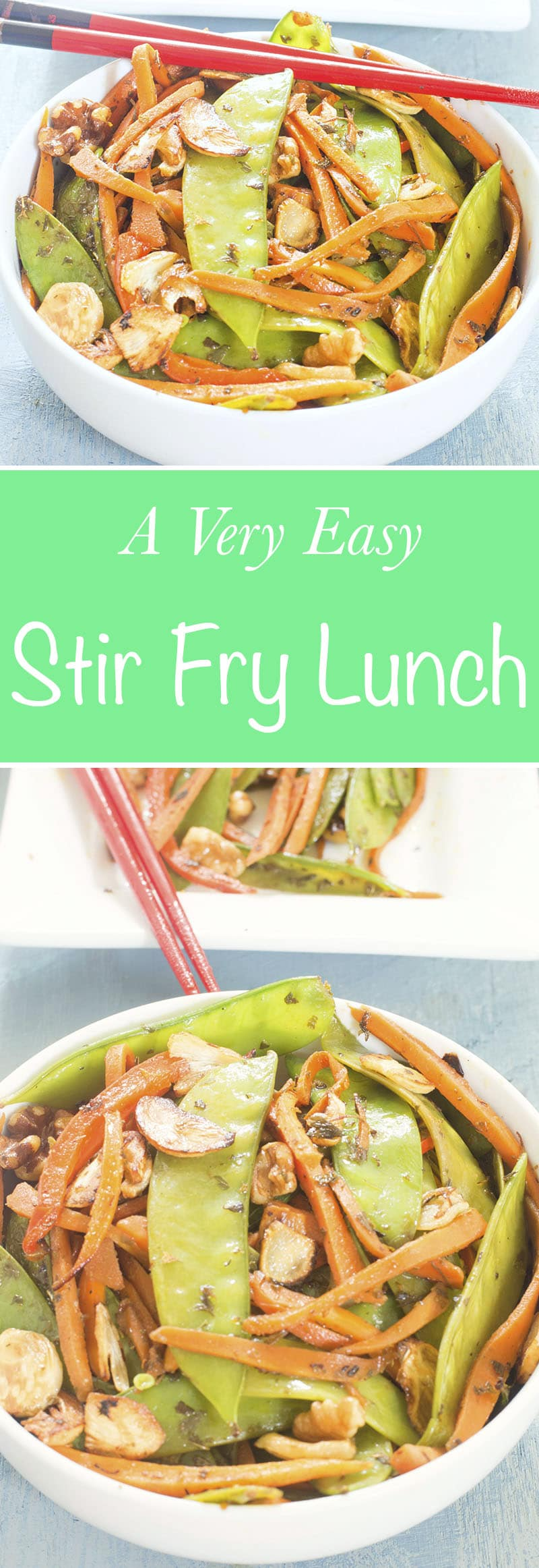 Stir Fry Snow Peas With Carrots with Asian flavors. Topped with walnuts for a yummy crunch. This is perfect lunch meal or a side dish. Vegan / Vegetarian