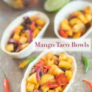 Vegan Mango Taco Boats made with 4 simple ingredients for the perfect dinner meal. Takes less than 20 minutes to make. For Vegetarians & Meat lovers too