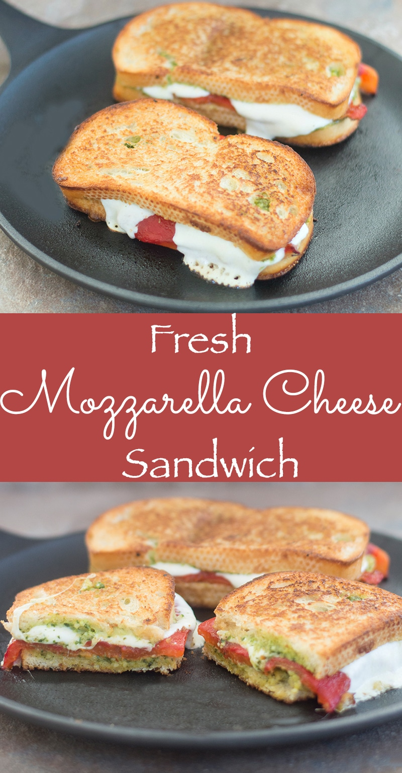 Mozzarella Cheese Sandwich made with fresh cheese, roasted red peppers and homemade arugula pesto spread. Perfect Sunday brunch recipe or pack it for an easy brown bag lunch sandwich