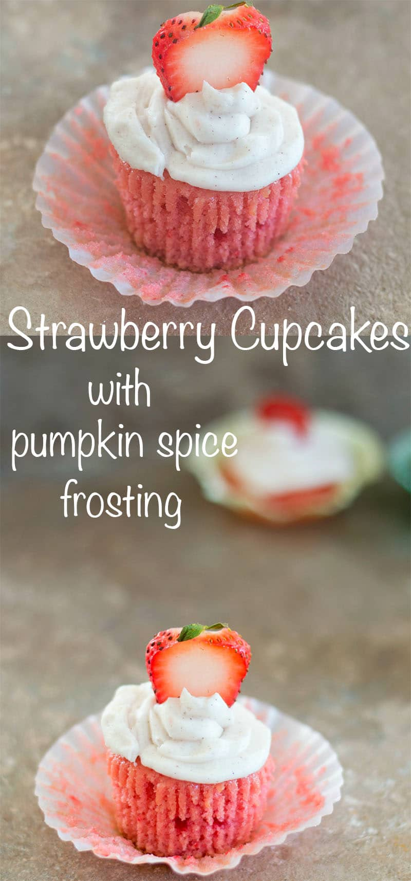Easy to make Vegan Strawberry Cupcakes with pistachios and a very simple pumpkin spice frosting. Can be made in 30 minutes or less. Perfect for birthdays