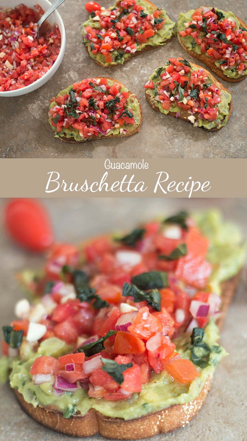 A twist of the traditional gaucamole! This guacamole bruschetta recipe is a mix of Mexican and Italian ingredients. Serve for brunch, cinco de mayo or just because #cincodemayo #brunch #vegan #appetizers #mexican