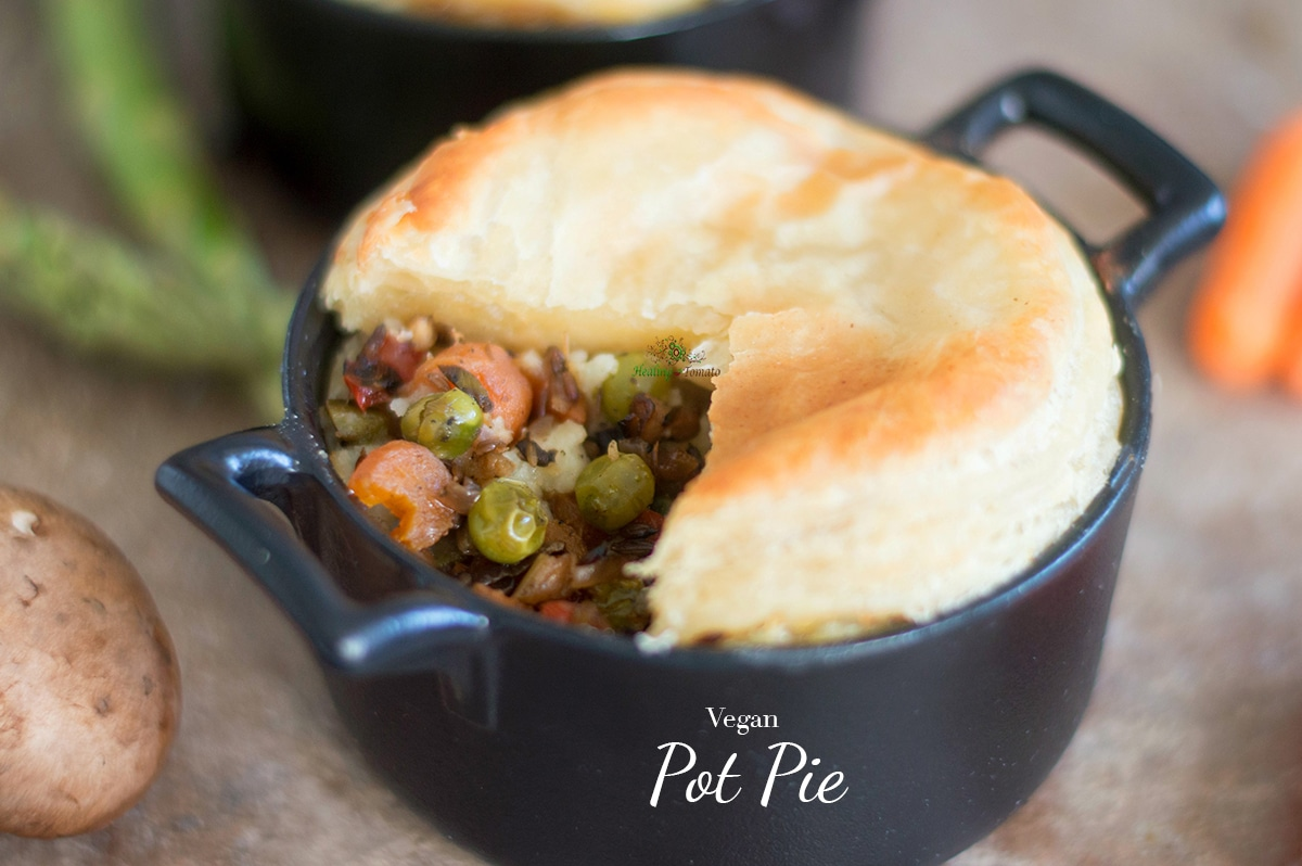 Quick and easy vegan pot pie recipe. Made with all fresh vegetables and uses almond milk instead of butter for basting. Make for perfect vegan comfort food