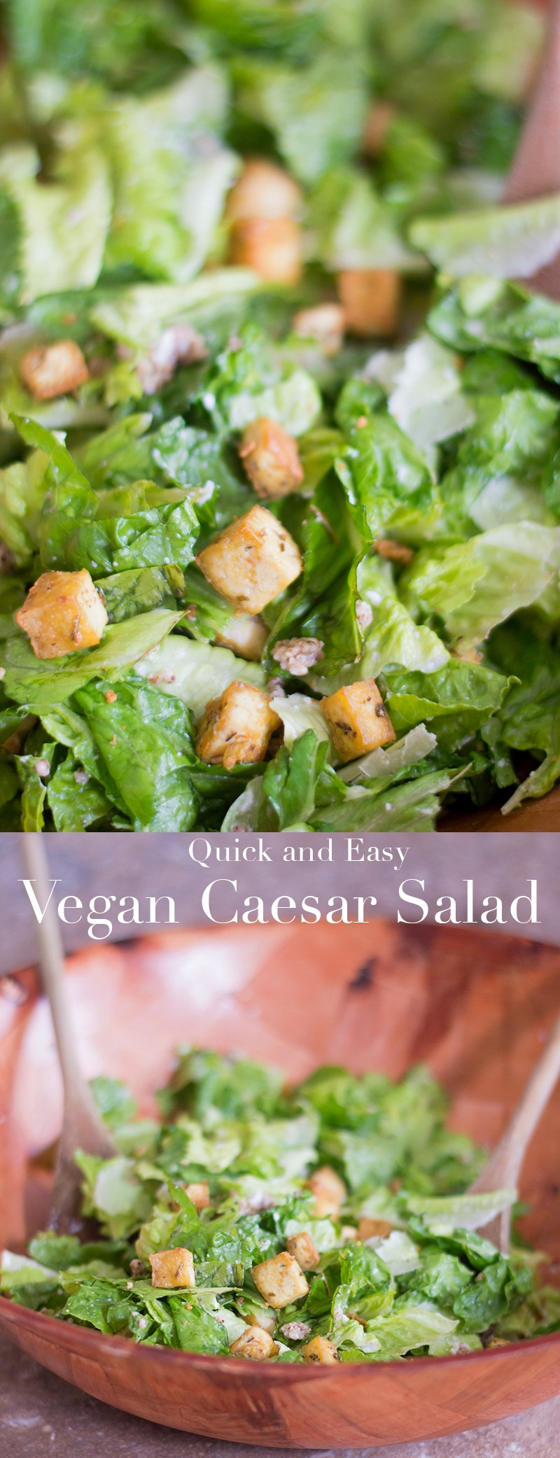 Make this healthy vegan Caesar salad recipe from Healing Tomato for lunch or for a dinner appetizer.  The recipe includes vegan dressing and vegan Parmesan