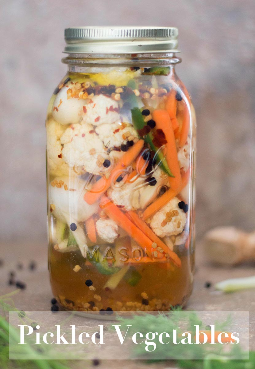Pickled vegetables are easy to make using cauliflower, peppers, fennel, onions, garlic and carrots. Put any veggies in a simple vinegar and oil brine