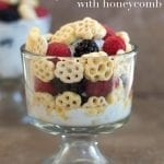 Yogurt Parfait - Quick and easy kid snack made with fresh fruits and honeycomb cereal. Takes only 5 minutes to make. Use fresh fruits and yogurt for a very nutritious snack.