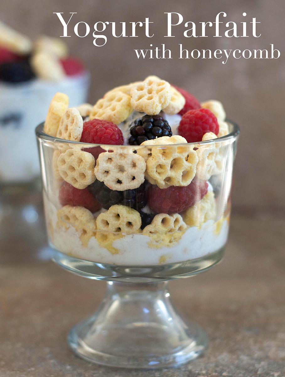 Front view of a glass bowl with yogurt, honecomb serial, raspberry and blackberry - Yogurt Parfait